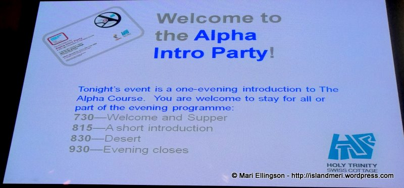 Alpha Course Supper notice.