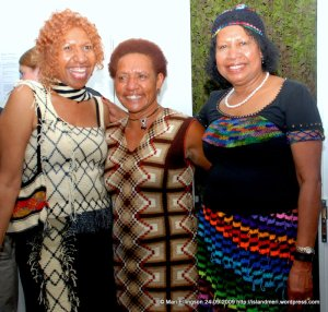 Cathy's BilumWear displayed by two PNG ladies at the Show.