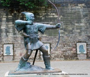 The metal sculpture of Robin Hood